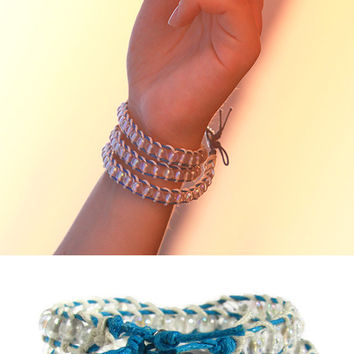 Beaded bracelet Blue White colors Triple wrap transparent beads Friendship Girl Fashion Statement Multi-stand Metal button Rose idea gift