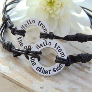 Adele Hello, Washer Bracelet, Hello Lyrics, Boyfriend Gifts, His And Hers, Anniversary Gifts For Her, Mens Gifts, Long Distance Relationship