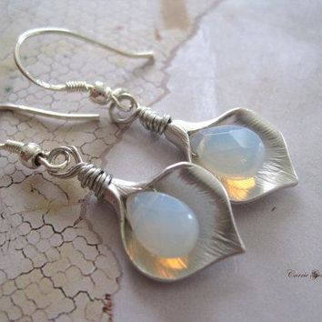 Calla Lily Flower with Sea Opalite Glass Briolette Earrings, Bridesmaid Gifts, Wedding Gifts