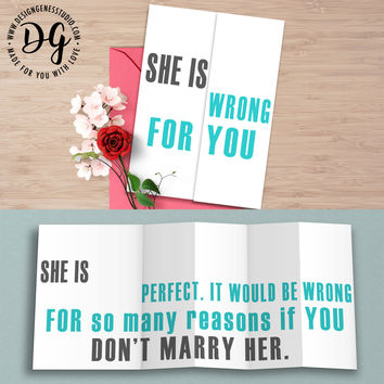 """Funny card for groom """"She is wrong for you"""" sarcastic wedding card"""