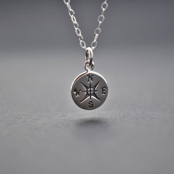 Compass Necklace, Silver Compass Charm, Friendship Necklace, Journey Necklace