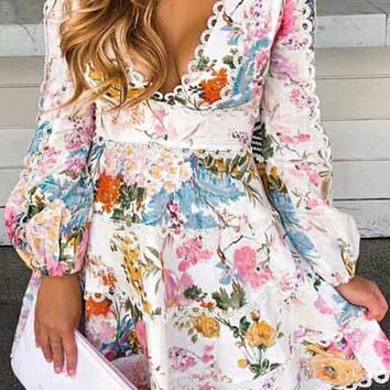 Tivoli Gardens Cream Pink Patchwork Floral Pattern Long Lantern Sleeve Deep V Neck A Line Flare Casual Mini Dress