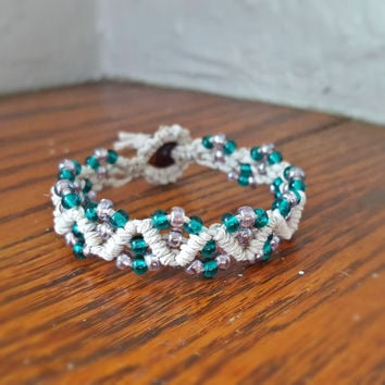 Seed Beaded Natural Hemp Bracelet Blue, Purple Glass Beaded Macrame Bracelet