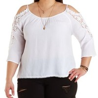 Plus Size White Crochet-Trim Cold Shoulder Top by Charlotte Russe