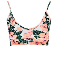 Vanessa High Neck Notch Front Printed Crop