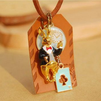 6pcs/lot Pretty Poker Rabbit Pendant Necklaces Alice in Wonderland Bunny Hare Envelope Long Brown Leather Cord Necklaces nxl012