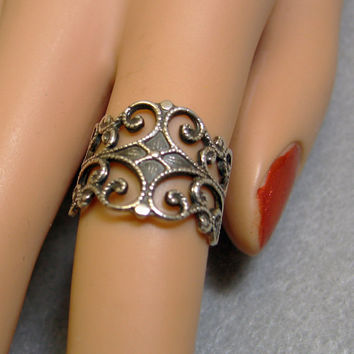 Wide Ornate Scrollwork Sterling Silver Ring, Size 5.75