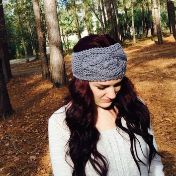 Headband, Gray Cable Knit Ear Warmer. Head Wrap, Winter Accessories