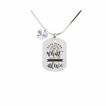 Inspirational Tag Necklace In AB Made With Crystals From Swarovski - STAY  CLOSE a0414fcccf