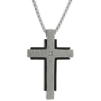 Hammered Stainless Steel Cross Pendant with Black Plating and .02 CTTW Diamonds