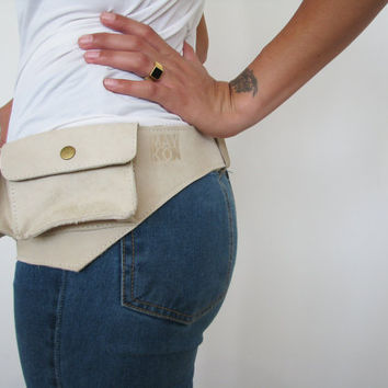 Cream leather hip bag, Pouch belt, Recycled leather, Ready to ship