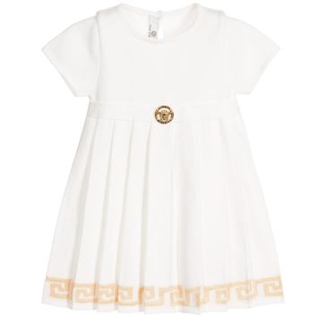 Versace Baby Girls Knitted Ivory & Gold Dress