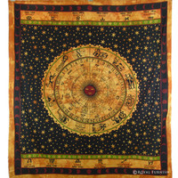 Queen Size Brown Hindu Zodiac Horoscope Print Wall Hanging Tapestry