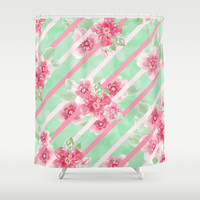 Summer Blossoms Diagonal Stripes Shower Curtain by Lisa Argyropoulos