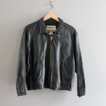 80s ROOTS Black Leather Jacket Genuine Leather Bomber 90s 80s Leather Parka Unisex Vintage  Size S - M