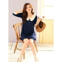 FREE SHIPPING Women Dark Blue Knitting Middle Sleeve One Size Dress