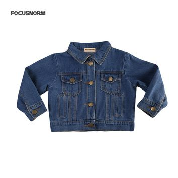 Girls' Fall Jeans Jacket Autumn Fashion Long Sleeve Pocket Denim Jacket Coat Children Age 1-6Y