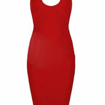 City Sights Red Spaghetti Strap Sleeveless Mock Neck Plunge Scoop Neck Cut Out Back Bodycon Bandage Midi Dress