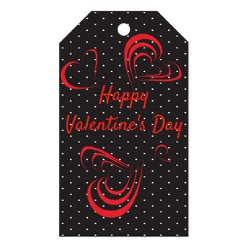 Red Doodle Hearts And Polka Dots Gift Tags