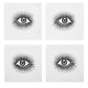 Eyes Linen Cocktail Napkins (Set of 4)