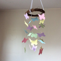 Butterfly paper mobile. Pink, Yellow, Blue, Lavender and Mint Baby nursery mobile, Crib mobile, Modern decor, Nursery mobile, Modern decor
