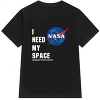 I NEED MY SPACE Letter NASA Logo Printed Short Sleeve Round Neck Tee