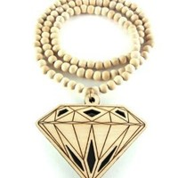 Large Wooden Diamond Supply Co. BBC Pendant Bead Chain Necklace ALL GOOD WOOD STYLE! natural