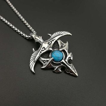 Trendy Hawk Turquoise Necklaces Pendant  Buddhist Talisman  for Men Jewelry
