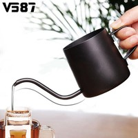 350ml Stainless Steel Black Water Kettle Gooseneck Narrow Spout Hand Drip Coffee Pot Kettle Flower Teapot Container Drinkware