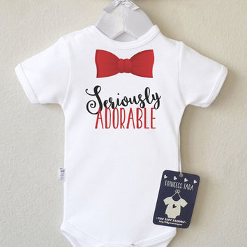 Cute Baby Boy Clothes. Red Bow Tie Baby Boy's Romper. Bowtie Bodysuit. Smash Cake Outfit. 1st Birthday Shirt. Coming Home Outfit.