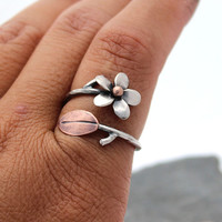 Plumeria AdjustableRing in Silver and Copper, Ready to Ship, Size 9-10, Frangipani Flower from Hawaii, Gifts for Mom, Mother's Day Gifts