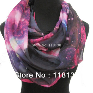 Fashion Ladies Galaxy Star Sky Cosmic Space Print Circle Infinity Scarf , Free Shipping
