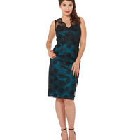 Voodoo Vixen Simone Floral Organza Pencil Dress