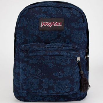 Jansport Super Fx Backpack Fun Floral On Denim One Size For Women 23222180001