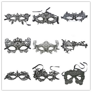High Quality 1pc Black Sexy Lace Mask Cutout Eye Mask for Halloween Masquerade Party Fancy Dress Costume