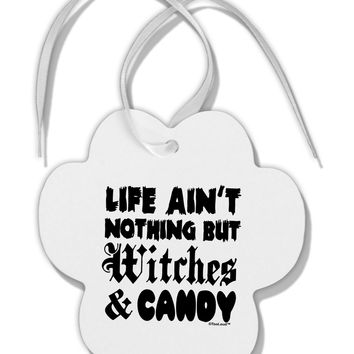 Witches and Candy Paw Print Shaped Ornament