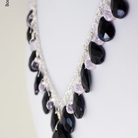 Black and Pale Pink Glass Teardrop Necklace, Silver Womens Necklace, Wedding Bridal Jewelry, Statement Necklace