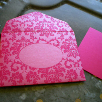Fuchsia Damask Metallic Envelope and Note Card - set of 10