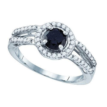 10K White-gold 1.06CT BLACK DIAMOND MICRO PAVE RING