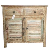 Antique Distressed Sideboard Dresser Buffet Indian Furniture Shabby Chic
