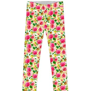 Little Rosarium Lucy Cute Rose Flower Print Leggings - Girls