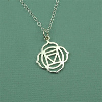 Root Chakra Necklace - sterling silver hindu yoga necklace - buddhist jewelry - gift