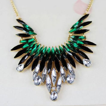 Black and Green Rhinestone Pendant Necklace