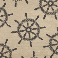 "Ship Wheel Black 5' x 7'6"" Indoor/Outdoor Rug"