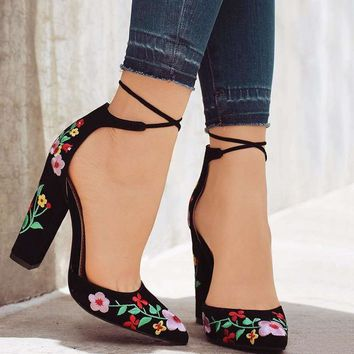 43 Size Embroider Women Pumps High Heels Pointed Toe Lace up Cross-tie Women High Heels Elegant Ladies Shoes Women