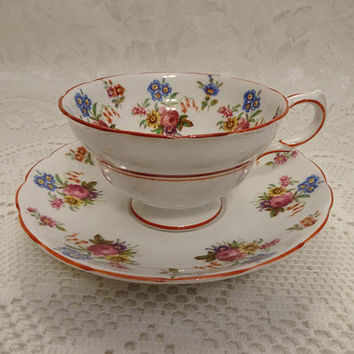 Vintage Jackson & Gosling Ltd. Grosvenor Floral Red Trim Fine Bone China Tea Cup and Saucer - England