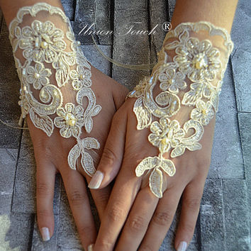 Champagne lace Wedding gloves french lace gloves Bridal accessory bridal gloves fingerles gloves free ship