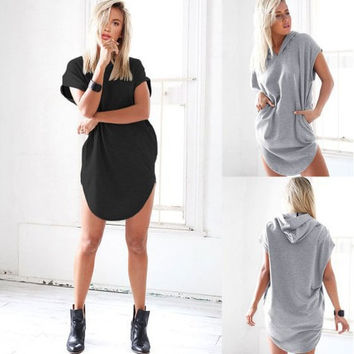Summer Short Sleeve Hats Plus Size Bat Tops Hoodies One Piece Dress [6339080513]