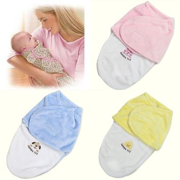 Baby Swaddle Wrap Soft Envelope for Newborn Products Blanket Swaddling Carters Fleece Sleeping Bag Infant 3 Color