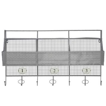 Metal Shelf And Coat Hanger With Mesh Backing 3 Numbered Shelves And 5 Hooks - Gray